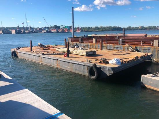 80FT. X 30FT. X 6FT. DECK BARGE BARGE constructed in the 1950's, welded steel construction, (4) comp