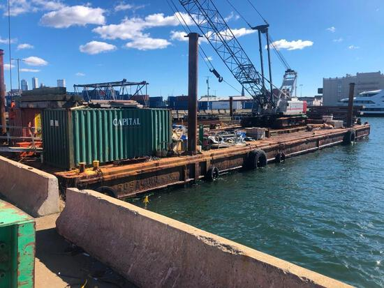 140FT. X 39FT. X 8.5FT. SPUD BARGE BARGE welded steel construction, (8) compartments formed by (4) t