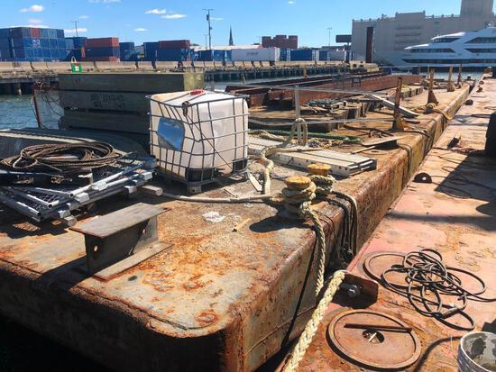 120FT. X 30FT. X 6.5FT. SPUD BARGE BARGE welded steel construction, (6) compartments formed by (3) t