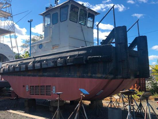 24FT. L X 12FT. 8IN. W X 6FT. D CONVENTIONAL PUSH BOAT BOAT approximatelt 800 hours on rebuilt twin