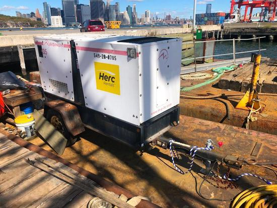 MAGNUM MMG35FH GENERATOR SN:1031974 powered by diesel engine, equipped with 35KW, trailer mounted.