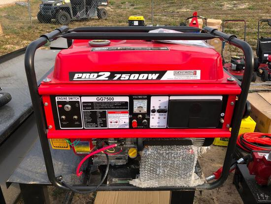 NEW GENTRON 7500 WATT GENERATOR NEW SUPPORT EQUIPMENT