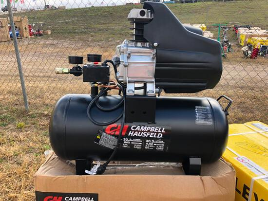 NEW CAMPBELL HAUSFELD 8 GALLON, 120V, 60HZ AIR COMPRESSOR NEW SUPPORT EQUIPMENT with 5pc tools.