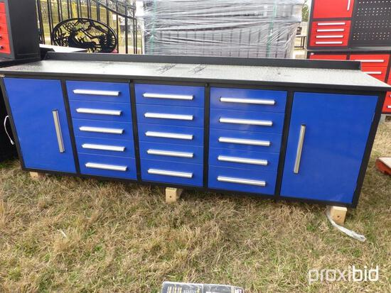 NEW STEELMAN 10FT. WORKBENCH W/ 15-DRAWERS & 2 CABINETS NEW SUPPORT EQUIPMENT