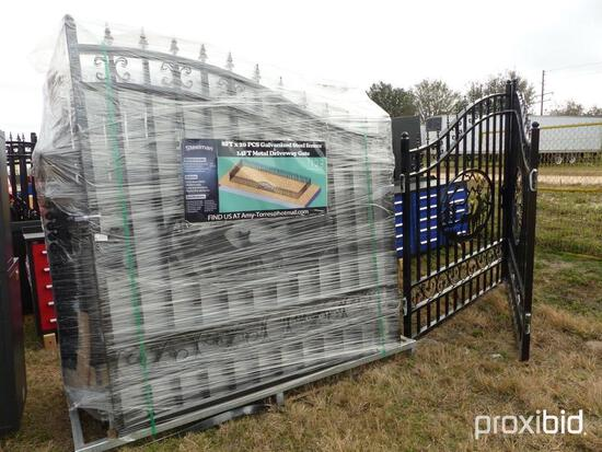 NEW WROGHT IRON FENCING NEW SUPPORT EQUIPMENT includes 20pc of fending and 1 gate.