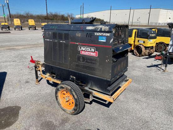 2014 LINCOLN VANTAGE 500 WELDER SN:U1140207572 equipped with 500AMPS, trailer mounted. Located: 2809