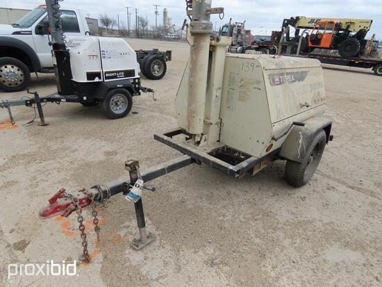 TEREX LIGHT PLANT SN:111968 powered by diesel engine, equipped with 4-1,000 watt lightbulbs, trailer