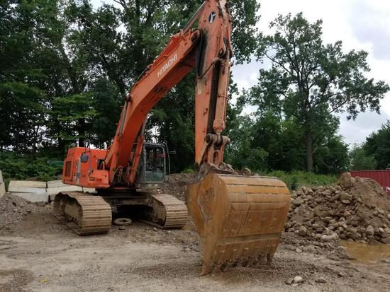 HITACHI ZX450LC-3 HYDRAULIC EXCAVATOR powered by diesel engine, equipped with Cab, JRB quick coupler