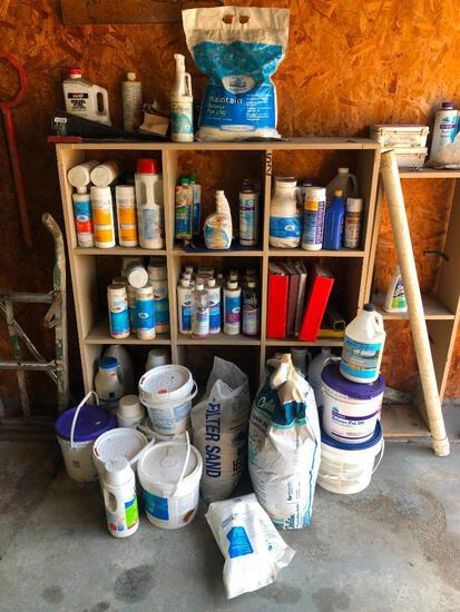 WOOD RACK & CONTENTS: ASSORTED POOL CHEMICALS POOL SUPPLIES