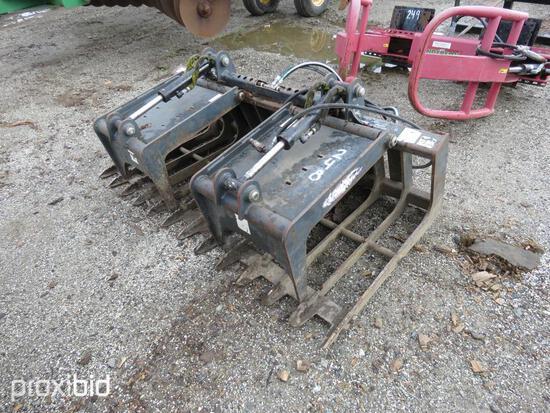 VIRNIG GRAPPLE BUCKET SKID STEER ATTACHMENT twin cylinder.