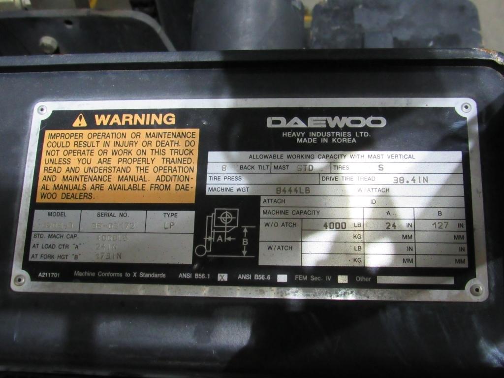 Lot: Daewoo G20S Forklift   Proxibid Auctions