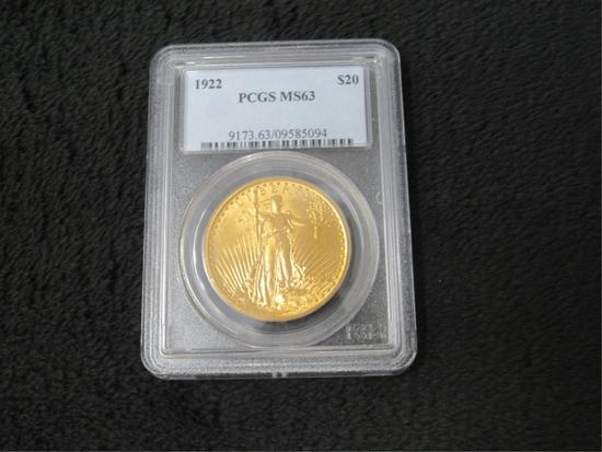 1922 $20 St. Gaudens Gold Coin-