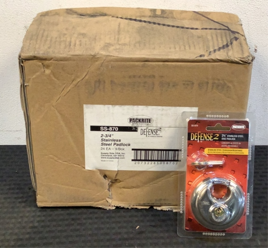 "(24) Packrite 2-3/4"" Stainless Steel Disc Padlocks"