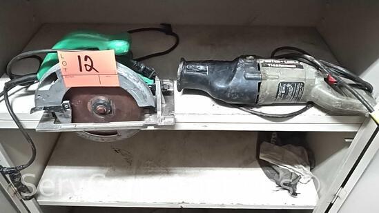 Lot of Hitachi Circular Saw, Porter Cable Ricipricating Saw