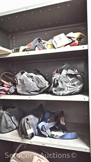 Lot on 4 Shelves: Safety Harnesses & Rain Coats