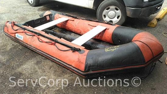 2001 Aquios 330 Inflatable Rescue Boat, Serial # A3311A311, 10.8-Ft, Has Leak in Rear Cone (Seller: