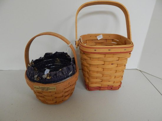 Lot of 2 Longaberger Small Baskets including Discovery and Incentive Baskets