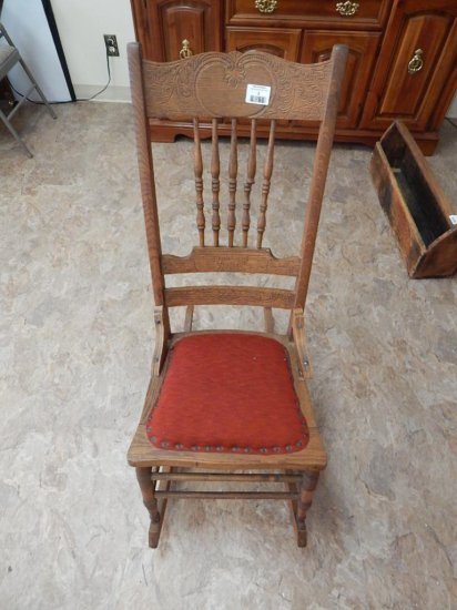 Antique Oak Pressed back rocking chair upholstered seat *condition note change please read*
