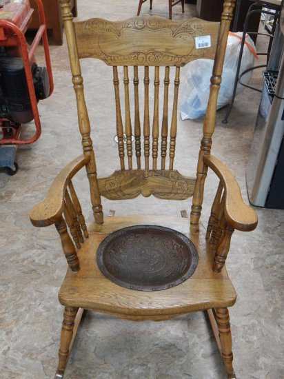 Antique Oak Pressed back rocking chair Leather seat