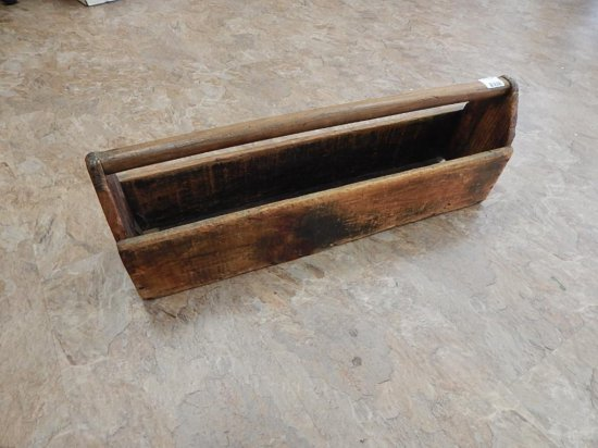 Antique large wooden tool box