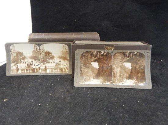 Antique Underwood & Underwood book of stereoscope slides