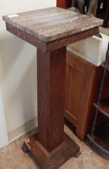Antique empire tiger oak marble top stand