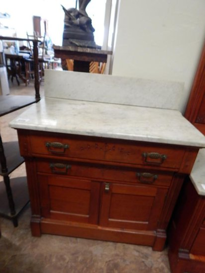 Antique Eastlake Mahogany circa 1860 2 drawer chest/nightstand with cabinet and marble top