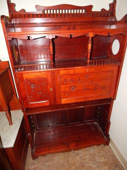 Antique Eastlake Mahogany circa 1860 secretary desk with original tapestry