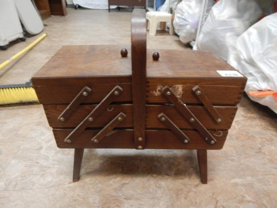 Vintage solid wood sewing box expandable full of sewing supplies