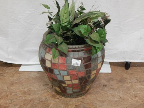 Plastic Mosaic planter with silk plants