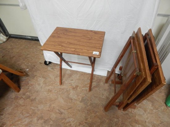 Oak Veneer wood 4 folding tables with stand *condition note