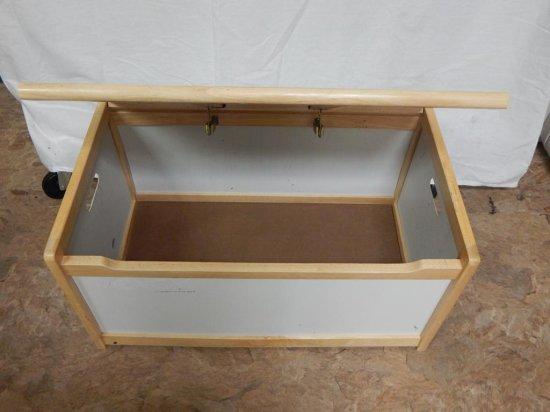 White laminate & wood childs storage chest.
