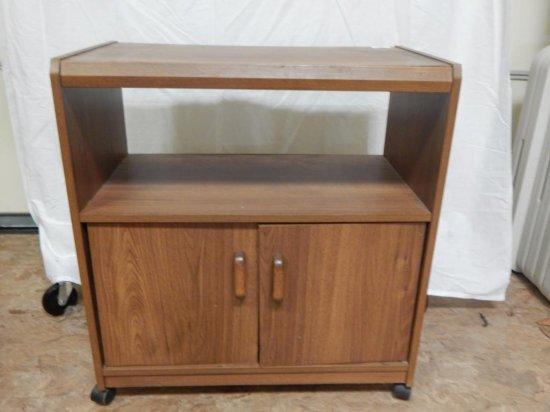 Wood laminate rolling microwave / TV cart.