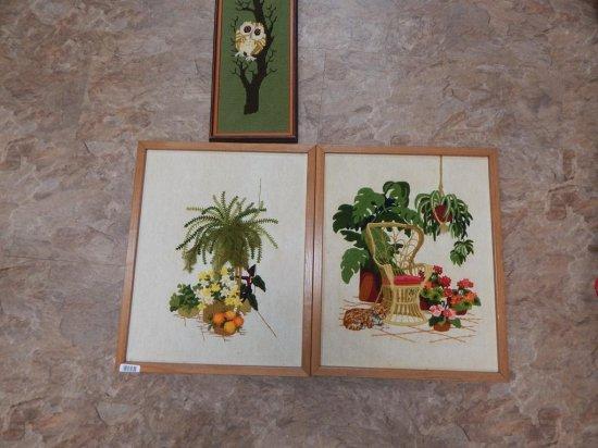 Lot of 3 vintage crewel framed pictures
