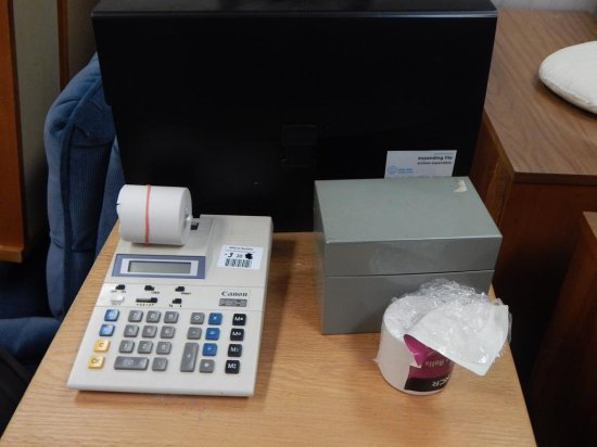 Business lot Adding machine Canon P20-D + Vintage index card file +