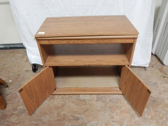 Wood laminate TV stand cabinet.