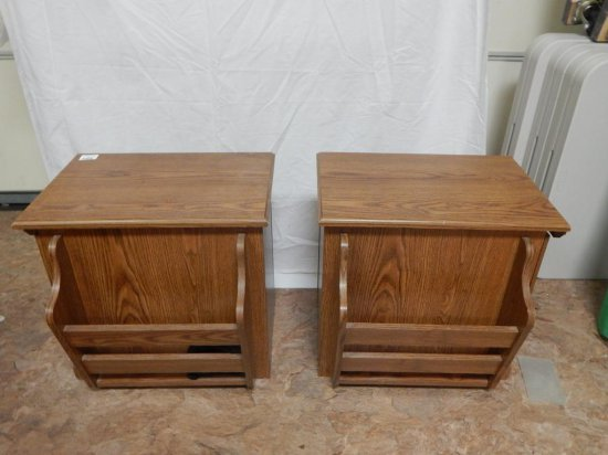 Pair of wood laminate end table cabinet with magazine rack