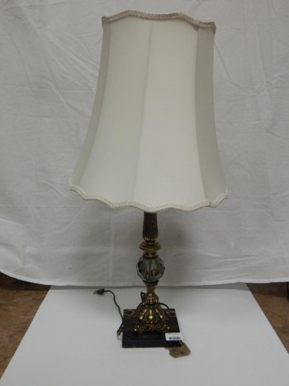 "Vintage marble base, brass & smoke glass lamp 21"""