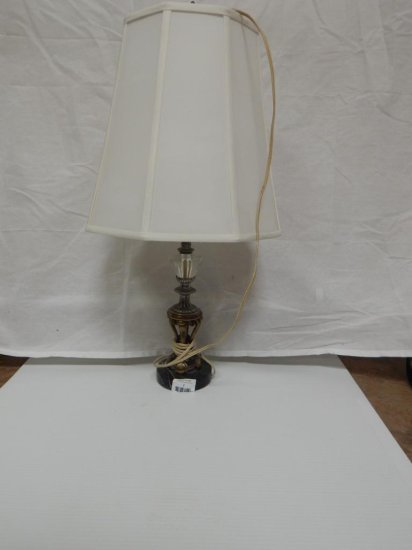 """Vintage marble base, brass & clear glass lamp 19"""""""