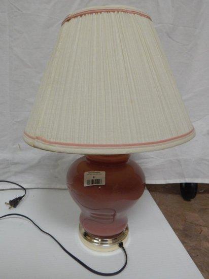 Vintage Pink ceramic ginger jar lamp