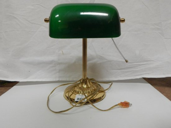 Glass and brass bankers lamp. Tarnished.