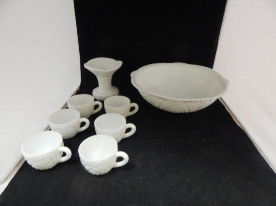 McKee CONCORD milk glass panel 7 piece pedestal punch bowl set