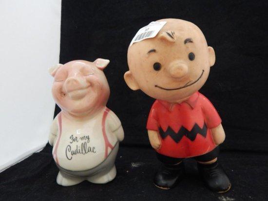 Vintage piggy bank and charlie brown figurine lot