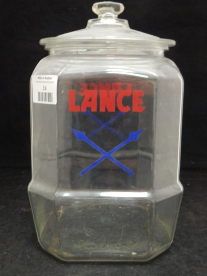 lance advertising glass cookie jar with lid
