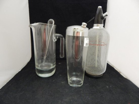 lot of 3 glass misc bar items: spritzer, margarita pitcher and decanter
