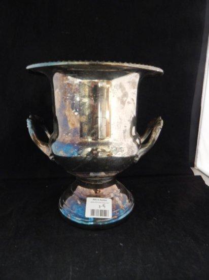 5 piece silver plate & accessory lot: Leonard silverplate ice bucket urn, bell & more