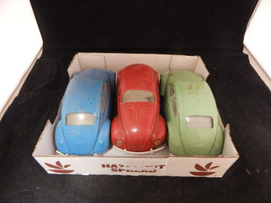 Vintage Tonka Metal Volkswagon Beetles 3 different colors.