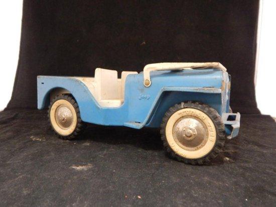 """Vintage Tonka Metal Jeep Blue 10"""""""