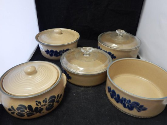 Pfaltzgraff Co Pottery, Lot of 5 Round Bakeware Dishes