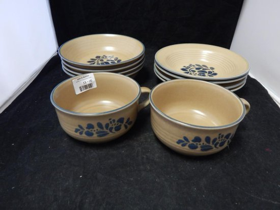 Pfaltzgraff Co Pottery, Lot of 10 soup dishes